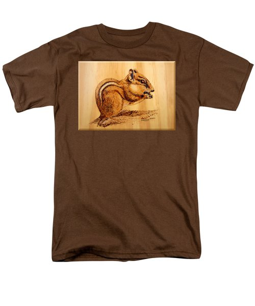 Men's T-Shirt  (Regular Fit) featuring the pyrography Chippies Lunch by Ron Haist