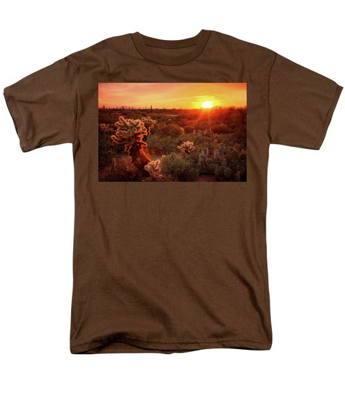 Men's T-Shirt  (Regular Fit) featuring the photograph Cholla Sunset In The Sonoran  by Saija Lehtonen