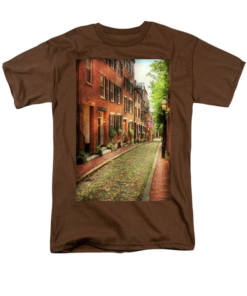 Men's T-Shirt  (Regular Fit) featuring the photograph City - Boston Ma - Acorn Street by Mike Savad