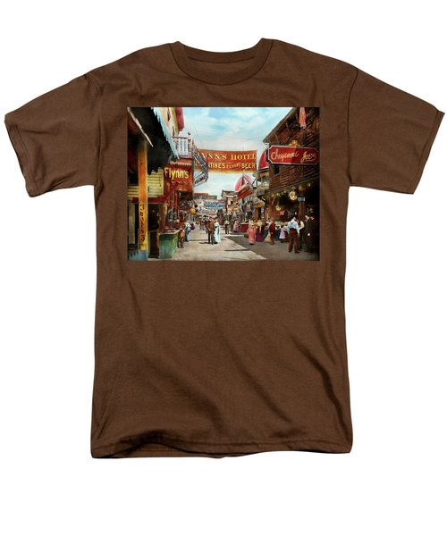 Men's T-Shirt  (Regular Fit) featuring the photograph City - Coney Island Ny - Bowery Beer 1903 by Mike Savad