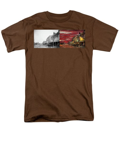Men's T-Shirt  (Regular Fit) featuring the photograph City - Palmerston North Nz - The Shopping District 1908 - Side By Side by Mike Savad