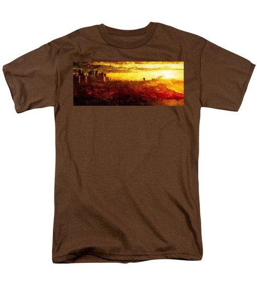 Men's T-Shirt  (Regular Fit) featuring the digital art Cityscape Sunset by Andrea Barbieri