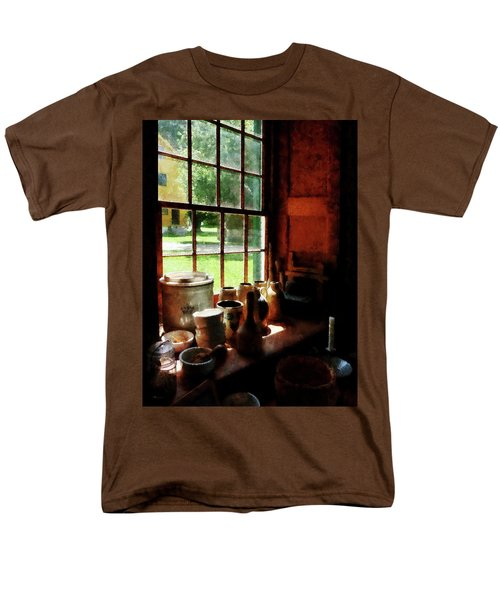 Men's T-Shirt  (Regular Fit) featuring the photograph Clay Jars On Windowsill by Susan Savad