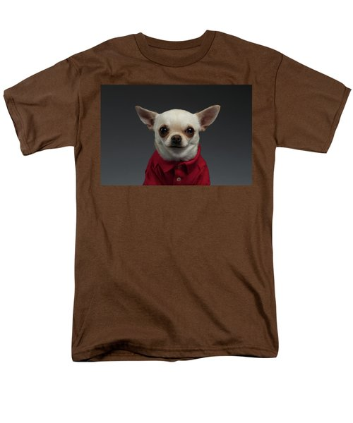 Closeup Portrait Chihuahua Dog In Stylish Clothes. Gray Background Men's T-Shirt  (Regular Fit) by Sergey Taran