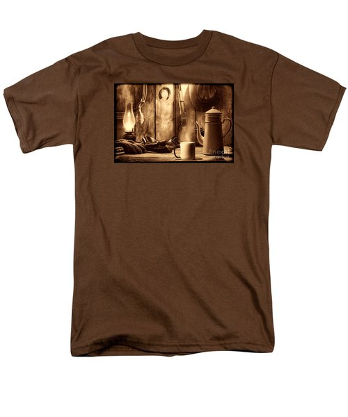 Coffee At The Cabin Men's T-Shirt  (Regular Fit) by American West Legend By Olivier Le Queinec