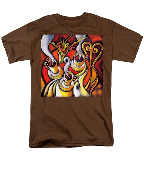 Men's T-Shirt  (Regular Fit) featuring the painting Coffee Cups by Leon Zernitsky