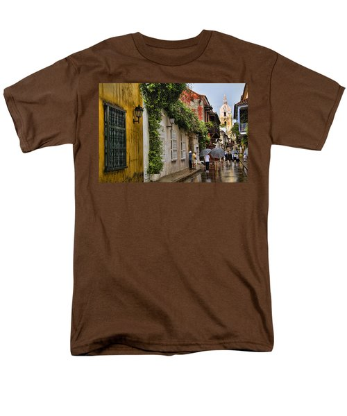 Colonial Buildings In Old Cartagena Colombia Men's T-Shirt  (Regular Fit) by David Smith
