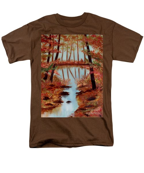Men's T-Shirt  (Regular Fit) featuring the painting Country Reflections by Leslie Allen