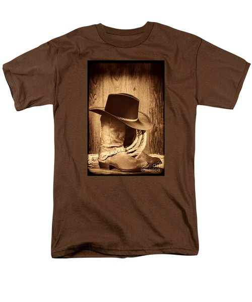 Cowboy Hat On Boots Men's T-Shirt  (Regular Fit) by American West Legend By Olivier Le Queinec