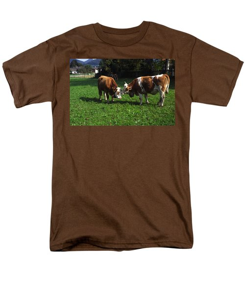 Cows Nuzzling Men's T-Shirt  (Regular Fit) by Sally Weigand