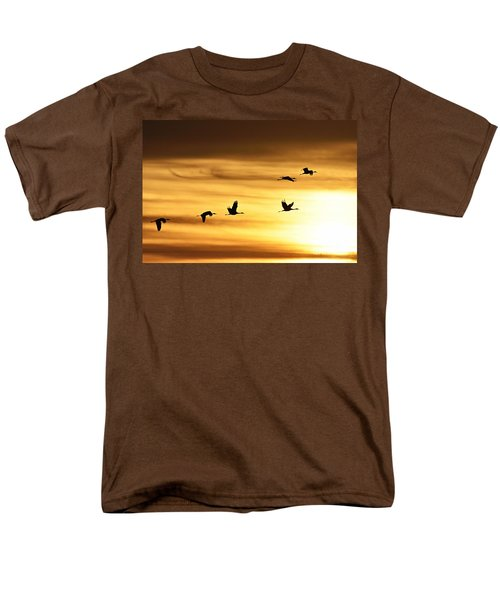 Men's T-Shirt  (Regular Fit) featuring the photograph Cranes At Sunrise 2 by Larry Ricker