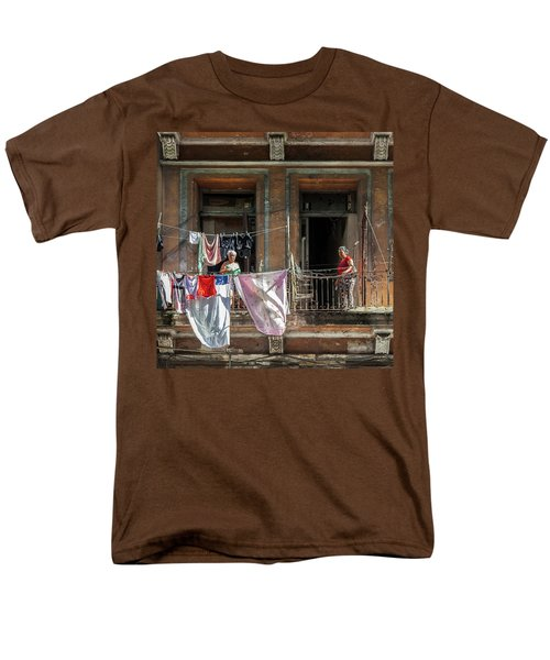 Men's T-Shirt  (Regular Fit) featuring the photograph Cuban Women Hanging Laundry In Havana Cuba by Charles Harden