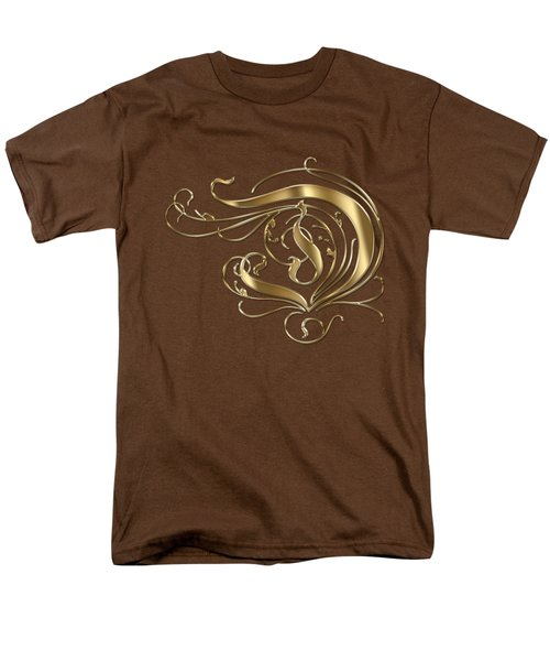 D Ornamental Letter Gold Typography Men's T-Shirt  (Regular Fit) by Georgeta Blanaru