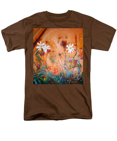 Men's T-Shirt  (Regular Fit) featuring the painting Daisies Along The Fence by Winsome Gunning