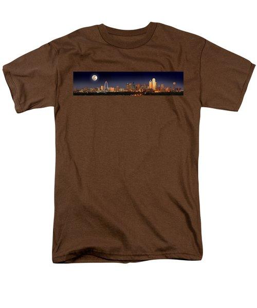 Dallas Skyline At Dusk Big Moon Night  Men's T-Shirt  (Regular Fit) by Jon Holiday