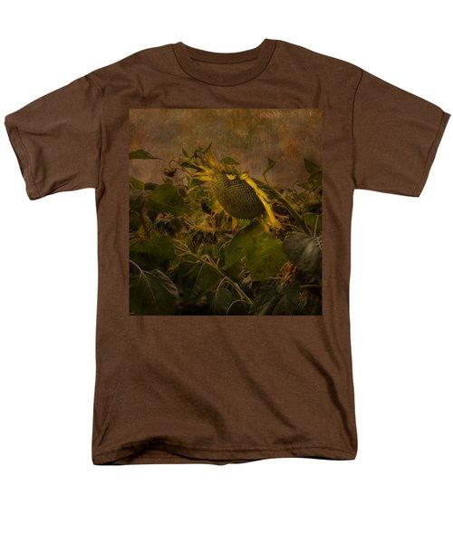 Men's T-Shirt  (Regular Fit) featuring the photograph Dark Textured Sunflower by Arlene Carmel