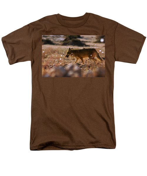 Death Valley Coyote And Flowers Men's T-Shirt  (Regular Fit) by Daniel Woodrum