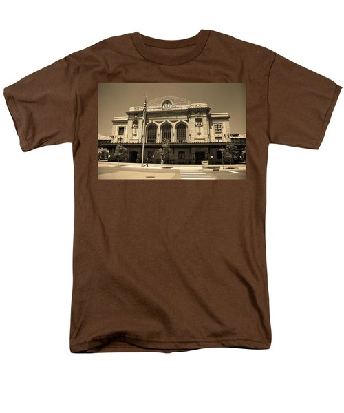 Men's T-Shirt  (Regular Fit) featuring the photograph Denver - Union Station Sepia 5 by Frank Romeo