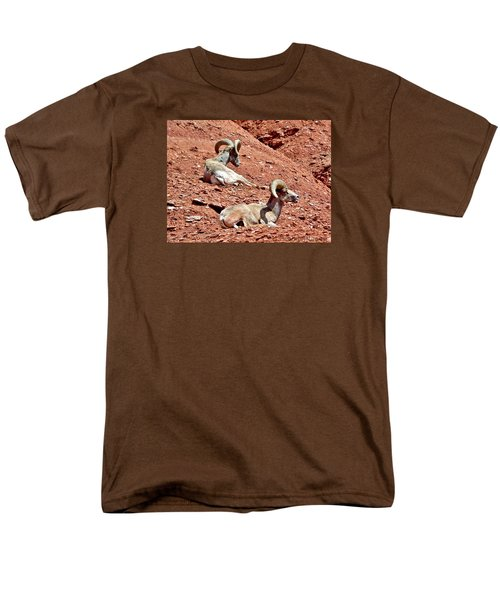Men's T-Shirt  (Regular Fit) featuring the photograph Desert Big Horn Sheep Capitol Reef National Park Utah by Deborah Moen