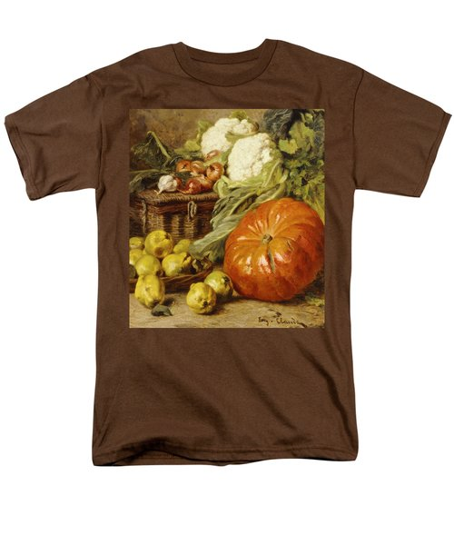 Detail Of A Still Life With A Basket, Pears, Onions, Cauliflowers, Cabbages, Garlic And A Pumpkin Men's T-Shirt  (Regular Fit) by Eugene Claude