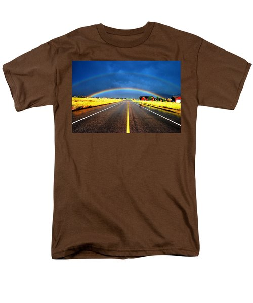 Double Rainbow Over A Road Men's T-Shirt  (Regular Fit)