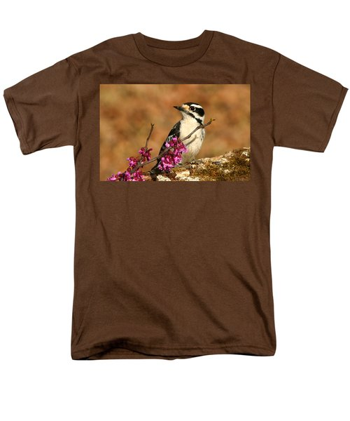 Downy Woodpecker In Spring Men's T-Shirt  (Regular Fit) by Sheila Brown