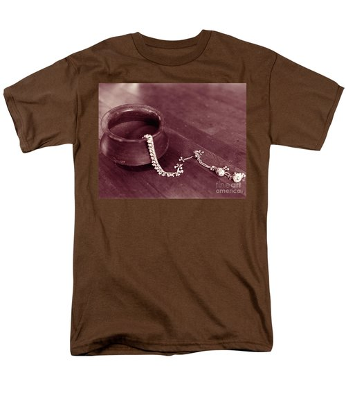 Men's T-Shirt  (Regular Fit) featuring the photograph Earthen Pot And Silver by Mukta Gupta