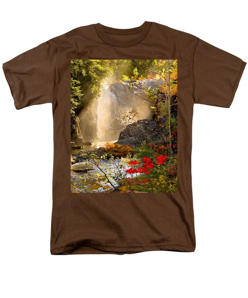 Fall Falls Mist  Dead River Falls  Marquette Mi Men's T-Shirt  (Regular Fit) by Michael Bessler
