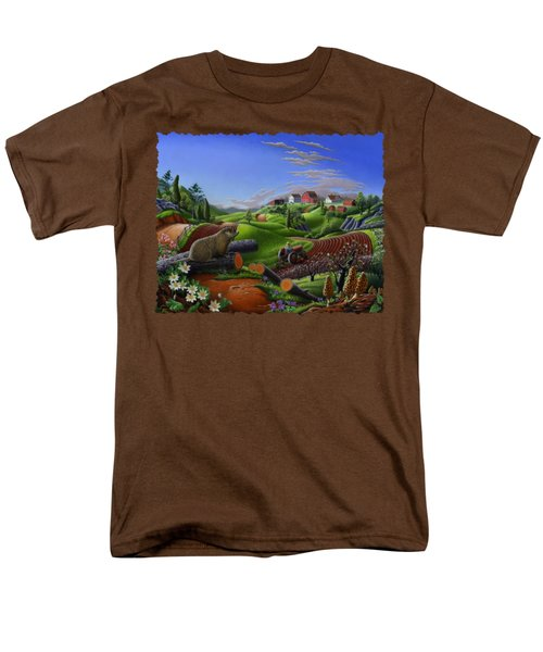 Farm Folk Art - Groundhog Spring Appalachia Landscape - Rural Country Americana - Woodchuck Men's T-Shirt  (Regular Fit) by Walt Curlee