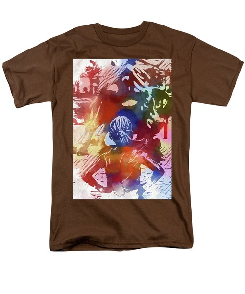 Men's T-Shirt  (Regular Fit) featuring the mixed media Fearless Girl Wall Street by Dan Sproul
