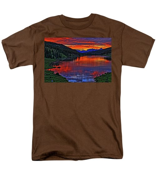Men's T-Shirt  (Regular Fit) featuring the photograph Fiery Lake by Scott Mahon