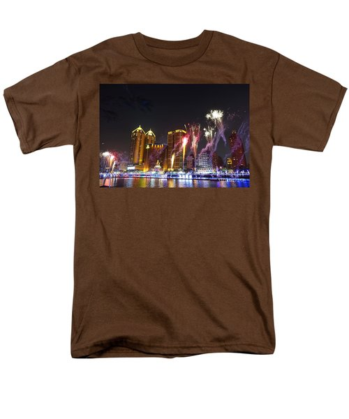 Men's T-Shirt  (Regular Fit) featuring the photograph Fireworks Along The Love River In Taiwan by Yali Shi