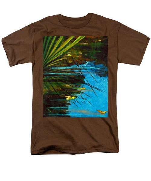 Men's T-Shirt  (Regular Fit) featuring the painting Floating Gold On Reflected Blue by Suzanne McKee