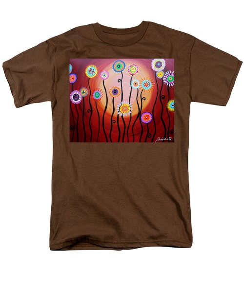 Men's T-Shirt  (Regular Fit) featuring the painting Flower Fest by Pristine Cartera Turkus