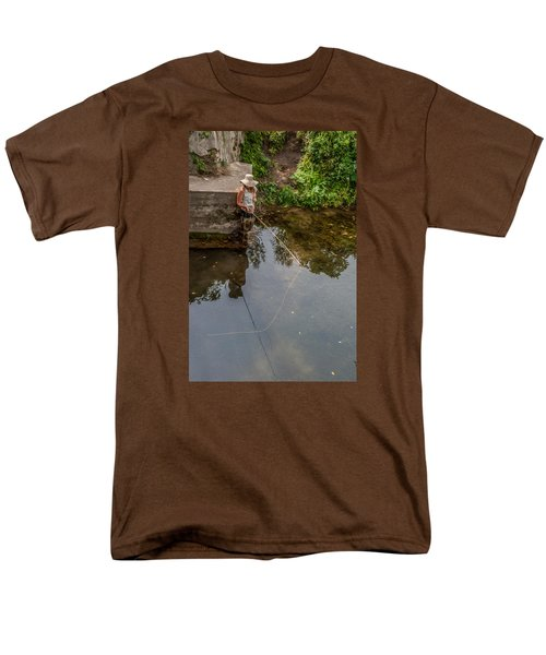 Fly Fisher Gal Men's T-Shirt  (Regular Fit) by Dan Traun