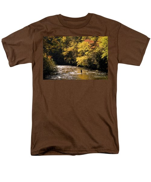 Men's T-Shirt  (Regular Fit) featuring the photograph Fly Fisherman On The Tellico - D010008 by Daniel Dempster