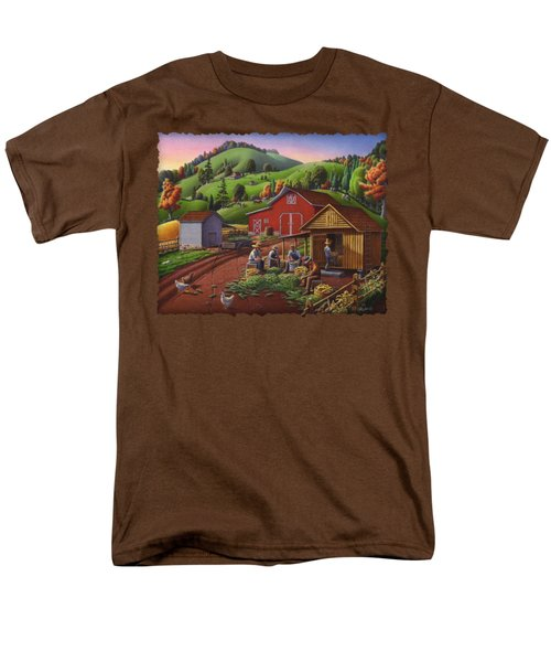 Folk Art Americana - Farmers Shucking Harvesting Corn Farm Landscape - Autumn Rural Country Harvest  Men's T-Shirt  (Regular Fit) by Walt Curlee