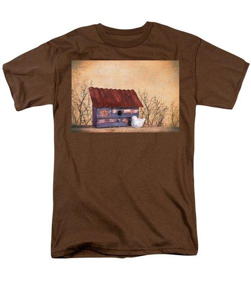 Men's T-Shirt  (Regular Fit) featuring the photograph Folk Art Birdhouse Still Life by Tom Mc Nemar