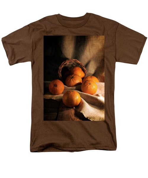 Men's T-Shirt  (Regular Fit) featuring the photograph Fresh Tangerines In Brown Basket by Jaroslaw Blaminsky