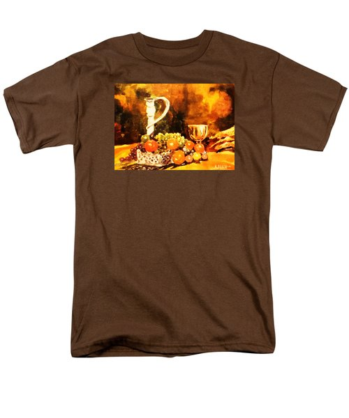 Men's T-Shirt  (Regular Fit) featuring the painting Fruit, Candelabrum And Goblet by Al Brown