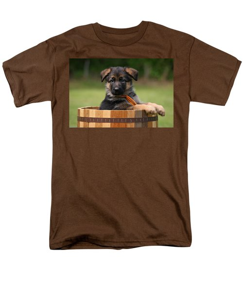 German Shepherd Puppy In Planter Men's T-Shirt  (Regular Fit) by Sandy Keeton