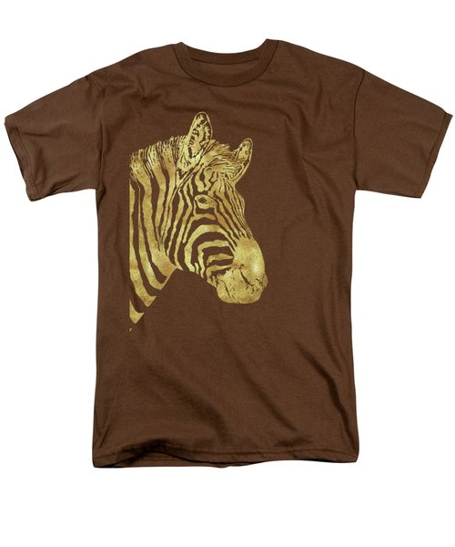 Gilt Zebra, African Wildlife, Wild Animal In Painted Gold Men's T-Shirt  (Regular Fit) by Tina Lavoie