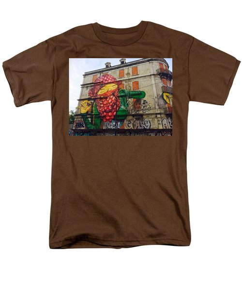 Men's T-Shirt  (Regular Fit) featuring the painting Globe Building Art Painting by Sheila Mcdonald