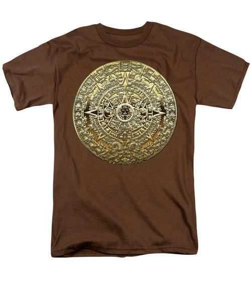 Gold Mayan-aztec Calendar On Brown Leather Men's T-Shirt  (Regular Fit) by Serge Averbukh