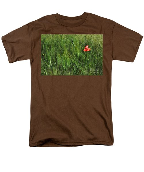 Grassland And Red Poppy Flower 2 Men's T-Shirt  (Regular Fit) by Jean Bernard Roussilhe