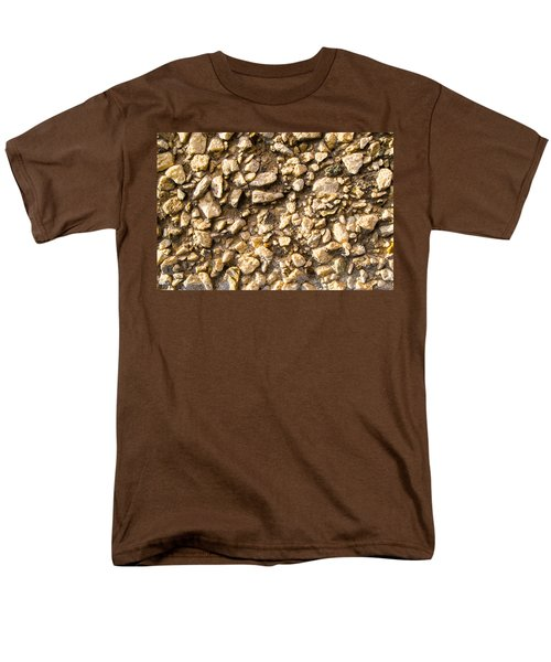 Men's T-Shirt  (Regular Fit) featuring the photograph Gravel Stones On A Wall by John Williams
