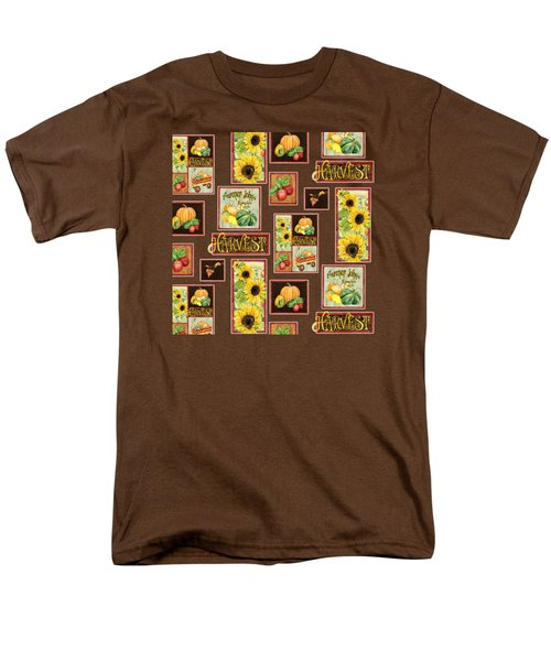 Men's T-Shirt  (Regular Fit) featuring the painting Harvest Market Pumpkins Sunflowers N Red Wagon by Audrey Jeanne Roberts