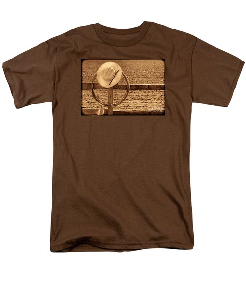 Hat And Lasso On A Fence Men's T-Shirt  (Regular Fit) by American West Legend By Olivier Le Queinec