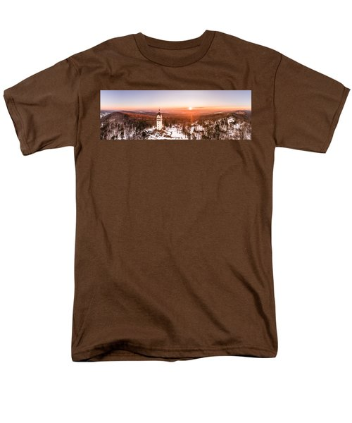 Heublein Tower In Simsbury Connecticut, Winter Sunrise Panorama Men's T-Shirt  (Regular Fit) by Petr Hejl