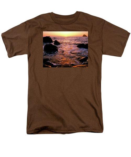 Hidden Cove Sunset Redwood National Park Men's T-Shirt  (Regular Fit) by Ed  Riche